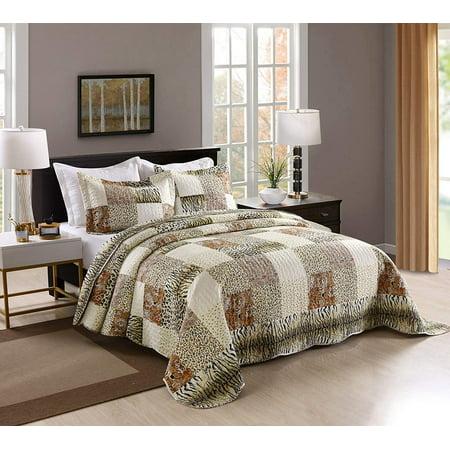 Marcielo 3 Piece Quilted Bedspread Leopard Print Quilt