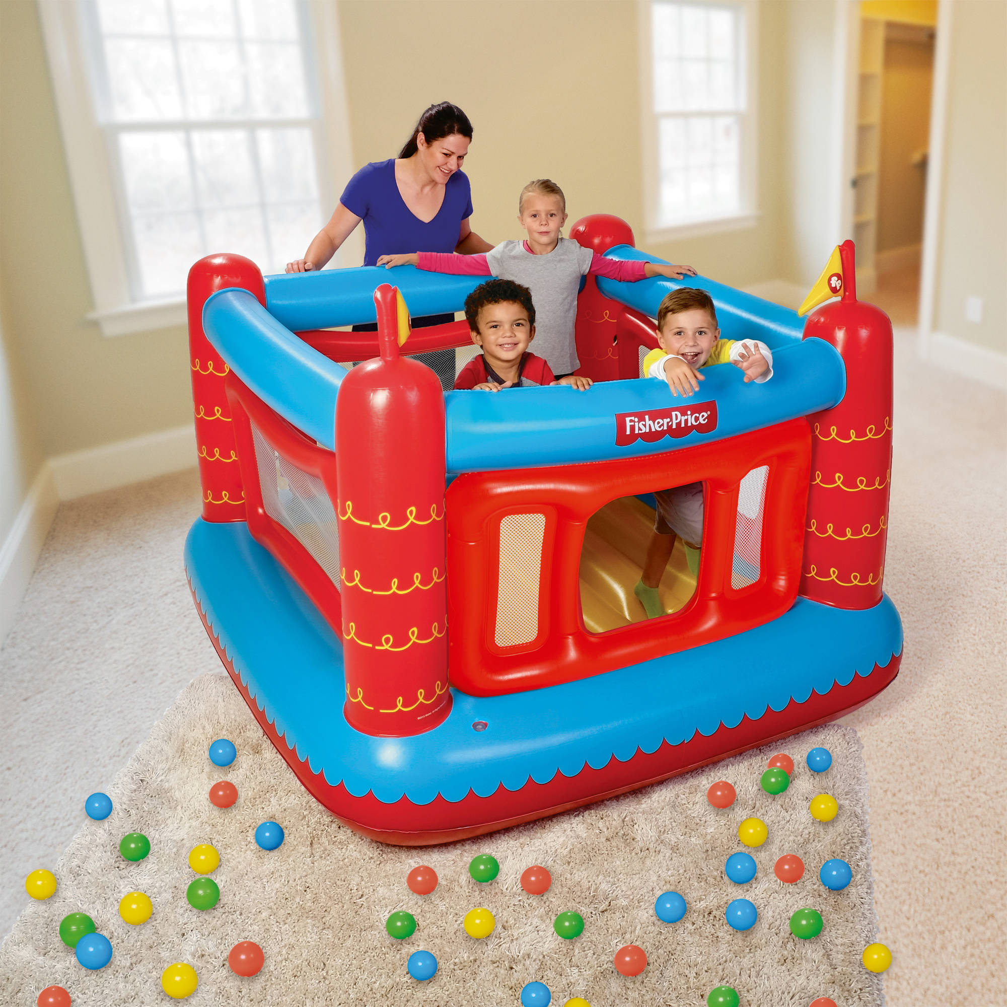 "Fisher-Price Bouncetastic Bouncer with 50 Play Balls, 69"" x 68"" x 53"""