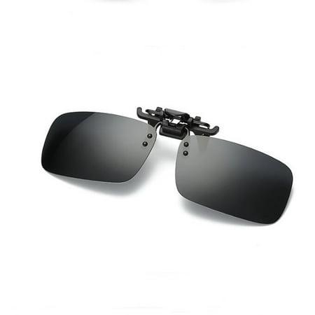 Clip On Sport Polarized Sunglasses, UV Protection Flip Up Glasses Lenses for Men Women Color:Gray black Size:S ()