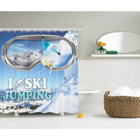 Ski Jumping Sport Decor Inspirational Quote Fabric Shower Curtain Set Extra Long