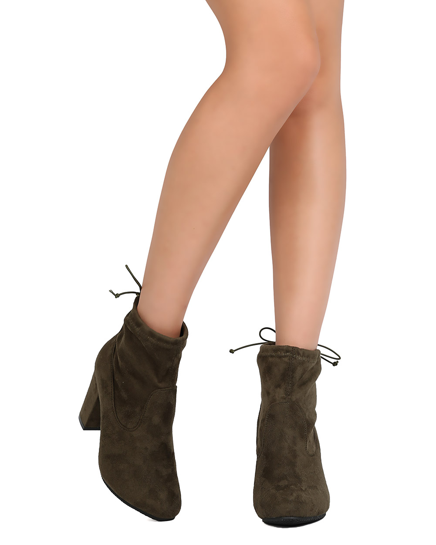 New Women Betani Milada-1 Faux Suede Chunky Heel Drawstring Bootie