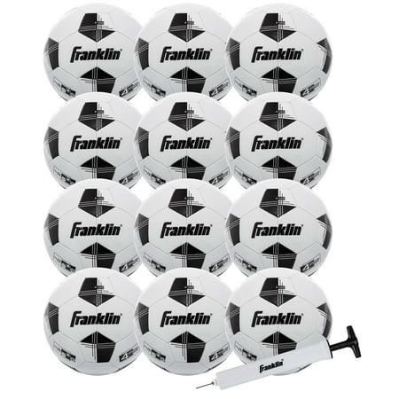 Franklin Sports Competition 100 Soccer Balls - 12 Pack Deflated with Pump - White/Black - Size (Franklin L'halloween)