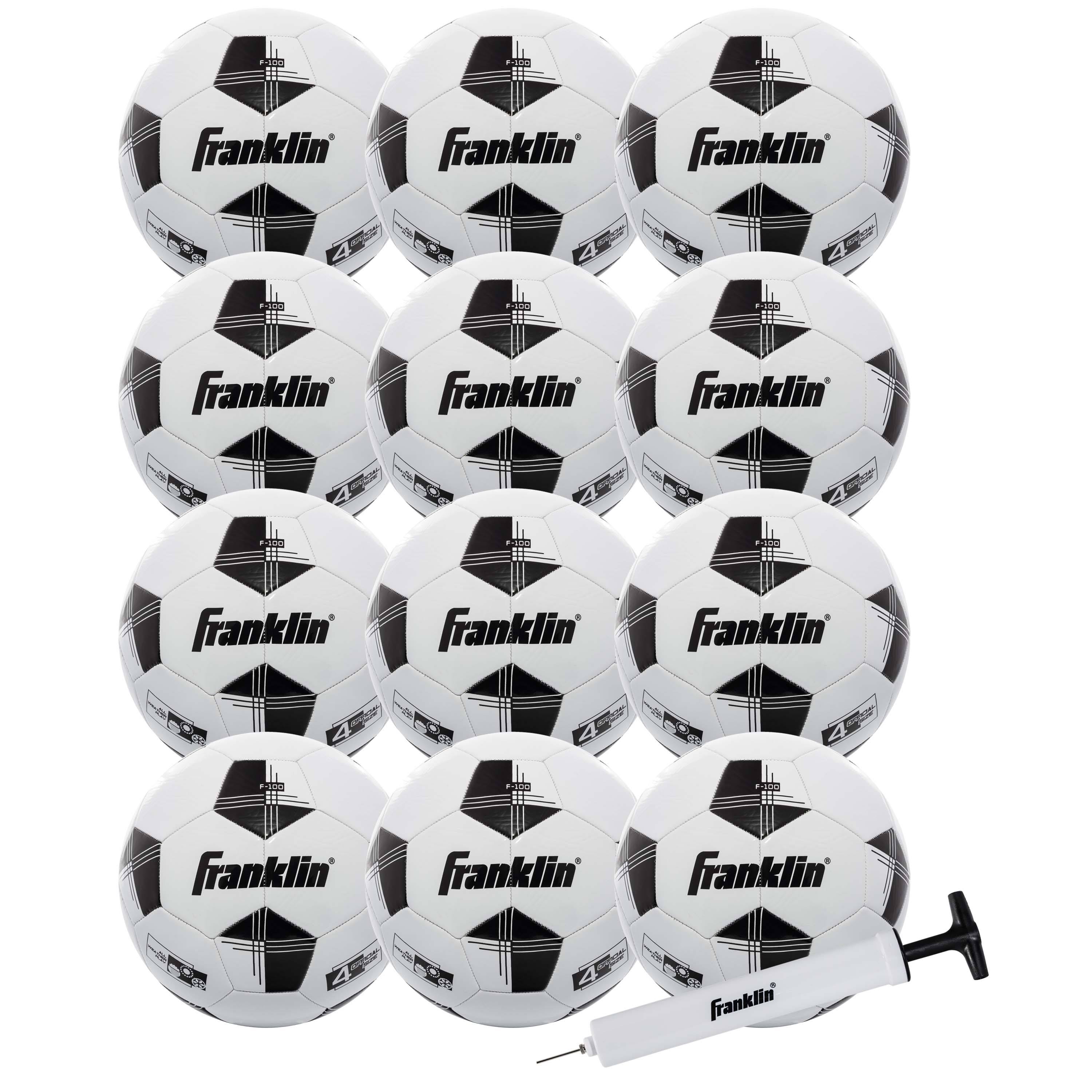 12-Pack Franklin Sports Competition 100 Soccer Balls with Pump