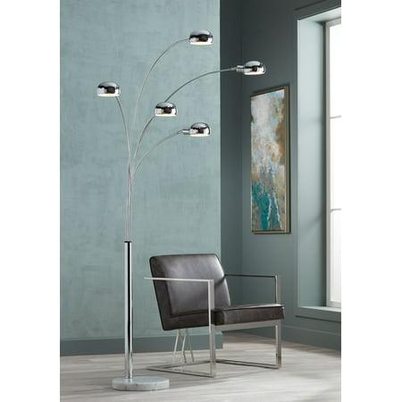 Possini Euro Design Mid Century Modern Arc Floor Lamp 5-Light Chrome Marble Base Swivel Dome Shades for Living Room Reading Base Arco Floor Lamp