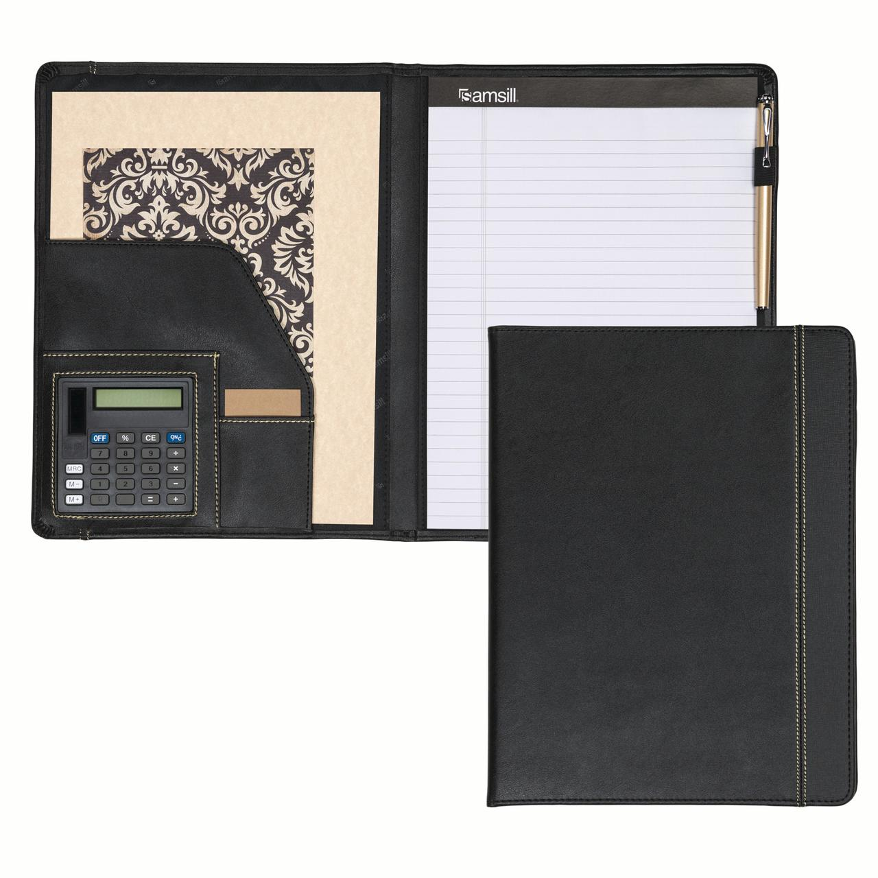 "Samsill Professional Slimline Padfolio with Calculator, 8.5""x11"" Writing Pad Included, Black"