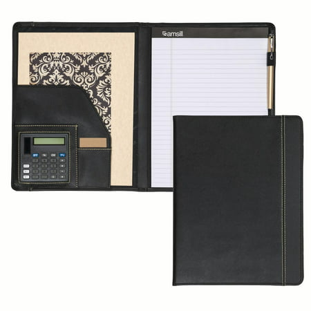 Samsill Professional Slimline Padfolio Portfolio With Contrast Stitch And Calculator  Refillable Letter Size  8 5 X11   Writing Pad  Black