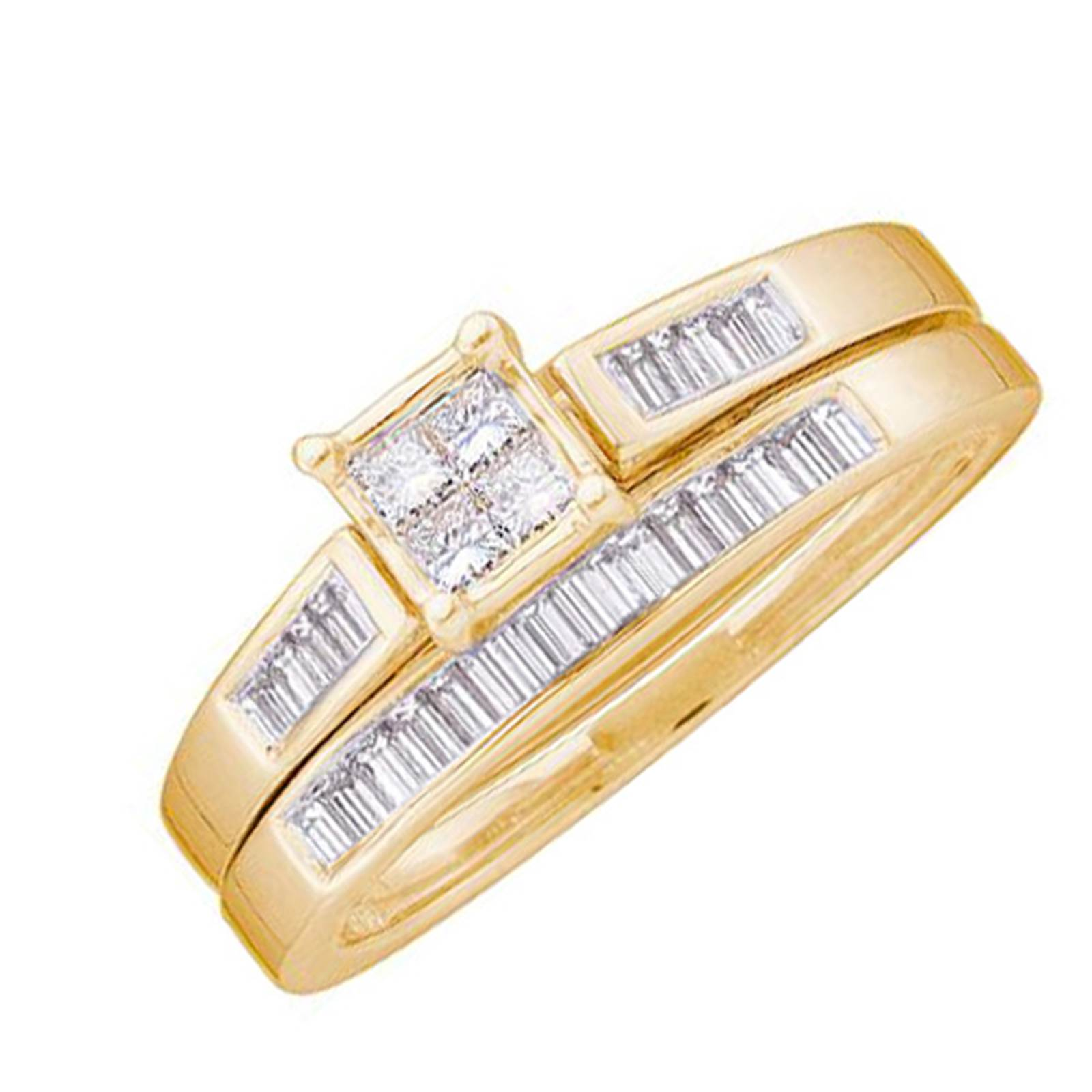 Ladies Yellow Gold 0.35CT Invisible Set Diamond Bridal Ring Set