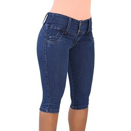 Womens High Waist Skinny Denim Jeans Short Pants