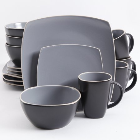Gibson Home Soho Lounge Square 16 Pc. Dinnerware Set, Matte Gray