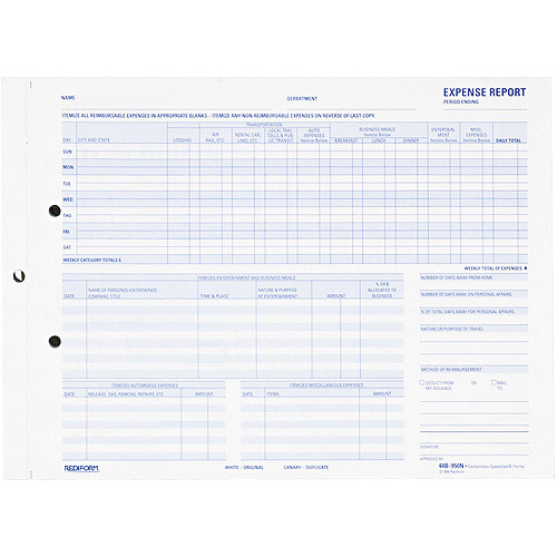 """REDIFORM Expense Report for Recording Maximum Detail, 11"""" x 8-1/2"""", Two-Part, 50 Forms"""