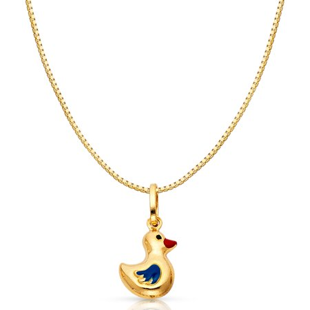14K Yellow Solid Gold Floating Duck Colored Enamel Charm Pendant with 1mm Box Chain Necklace