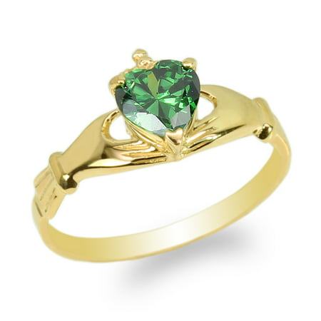Womens Yellow Gold Plated Claddagh Ring with Emerald Heart CZ Size 4-10