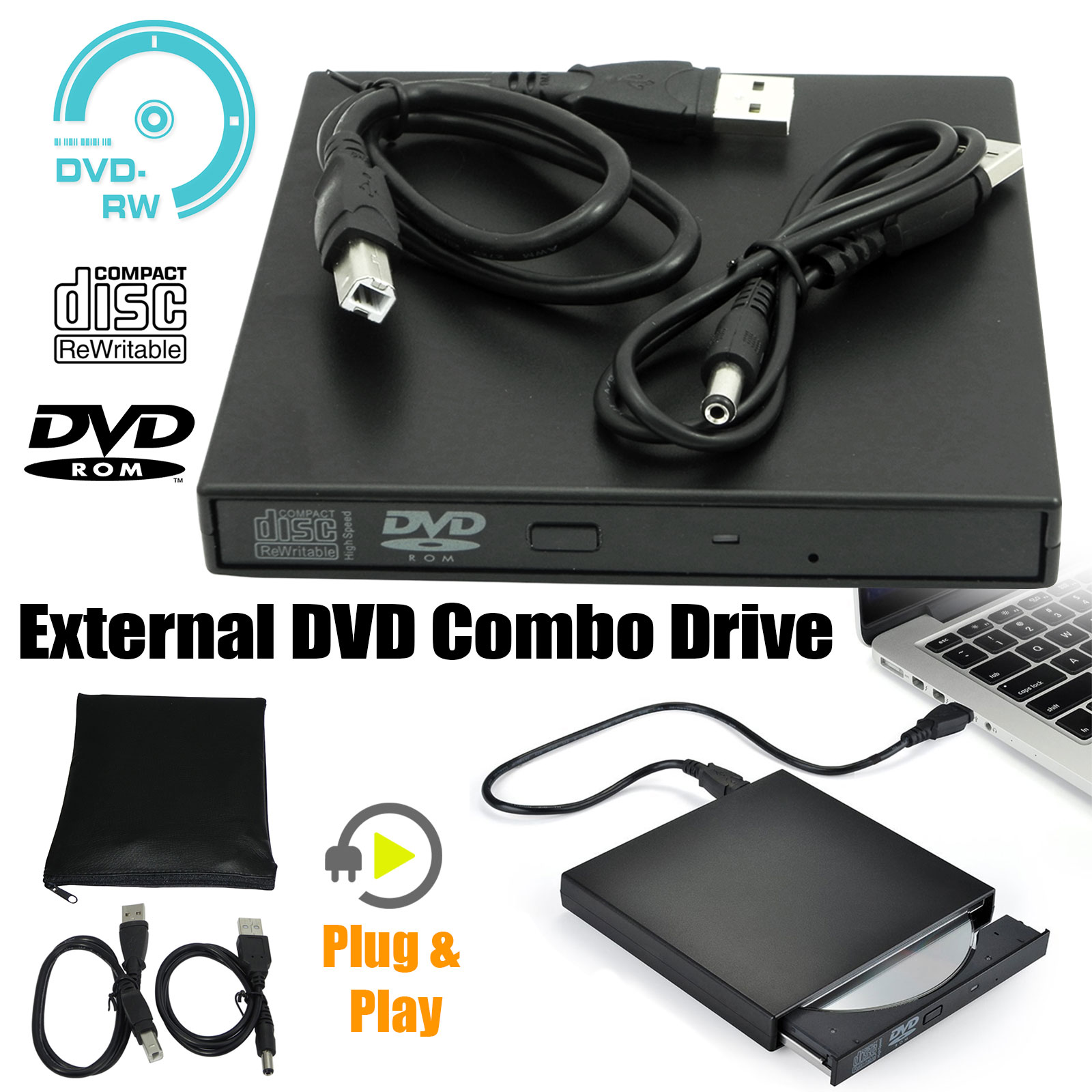 Slim External USB 2.0 DVD RW CD Writer Drive Burner Reader Player For Laptop PC