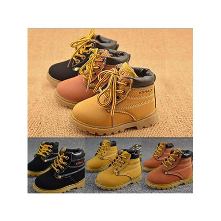 Baby Kids PU Leather Martin Snow Boots Fur Lined Winter Warm (Baby Shoes Boots)