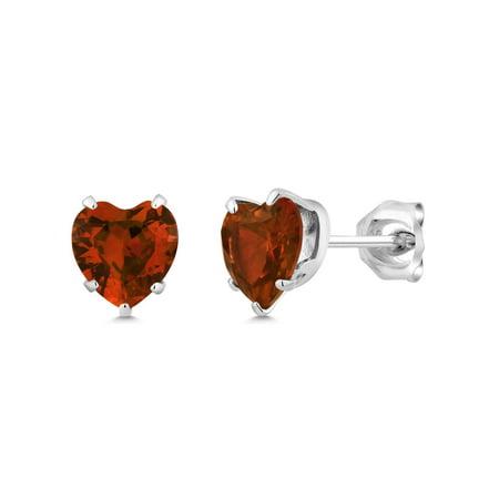 925 Sterling Silver Red Cubic Zirconia CZ Stud Earrings (3.00 cttw, 6MM (Red Heart Earrings)