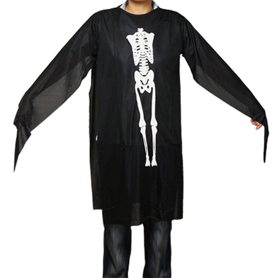 Child Halloween Costume Skeleton Ghost Robe Cloak Black US M