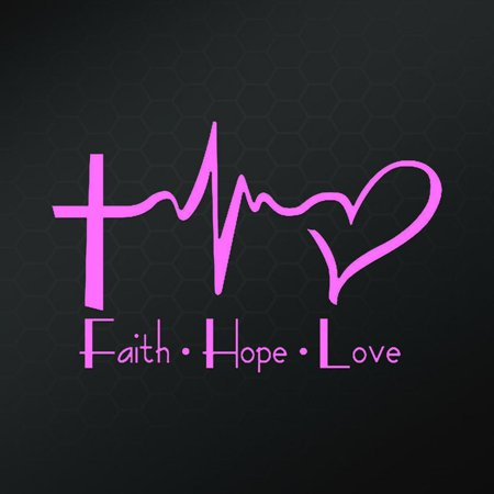 Faith Hope Love Vinyl Decal Sticker | Cars Trucks Vans Walls Laptops Cups | Pink | 6 X 4 Inch | - Csr Wall