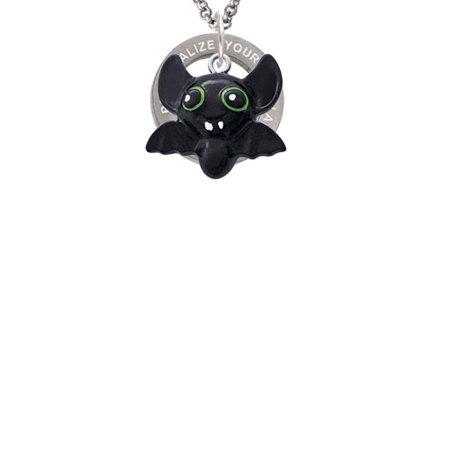 Signed Name Engraved Bat (Resin Bat Buddy Custom Engraved Affirmation Ring Necklace)