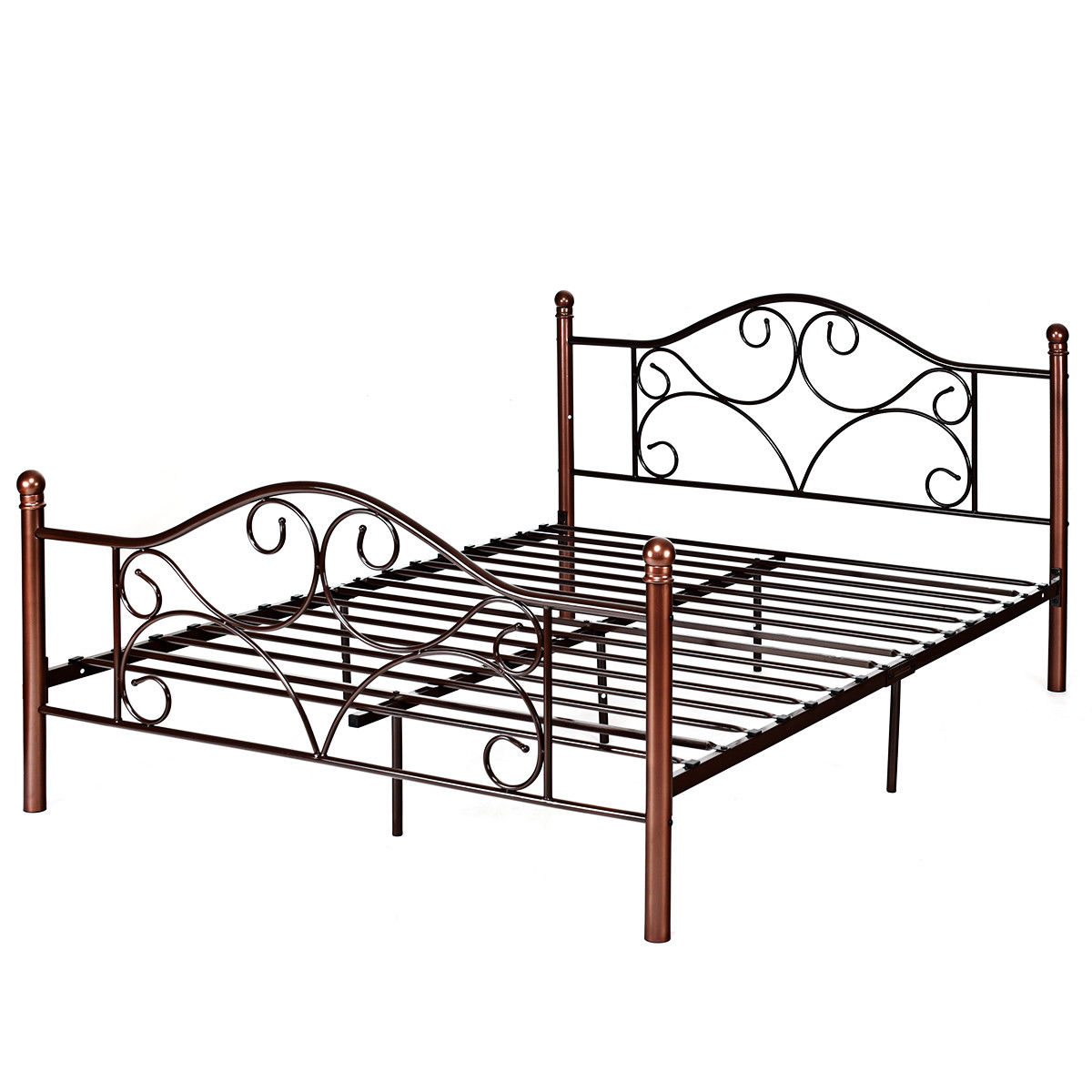 costway queen size steel bed frame platform stable metal slats headboard footboard new. Black Bedroom Furniture Sets. Home Design Ideas