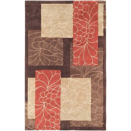 Surya Cosmopolitan 5' x 8' Hand Tufted Rug in Brown and Red