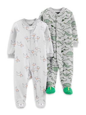 Child of Mine by Carter's Baby Boy Interlock Cotton Sleep 'N Play Pajamas, 2-Pack