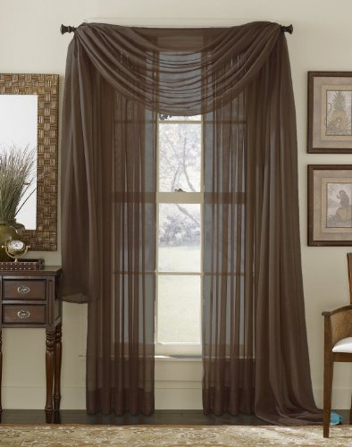 Elegant 3 Piece Coffee Brown Sheer Voile Curtain Panel Set: 2 Coffee Panels And 1  Scarf