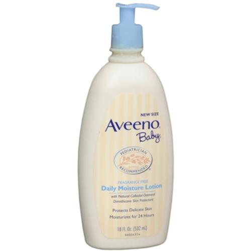 AVEENO Baby Daily Moisture Lotion Fragrance Free 18 oz (Pack of 4) by