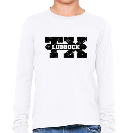 Lubbock, Texas TX Classic City State Sign Boy's Long Sleeve T-Shirt (Party City Lubbock Texas)