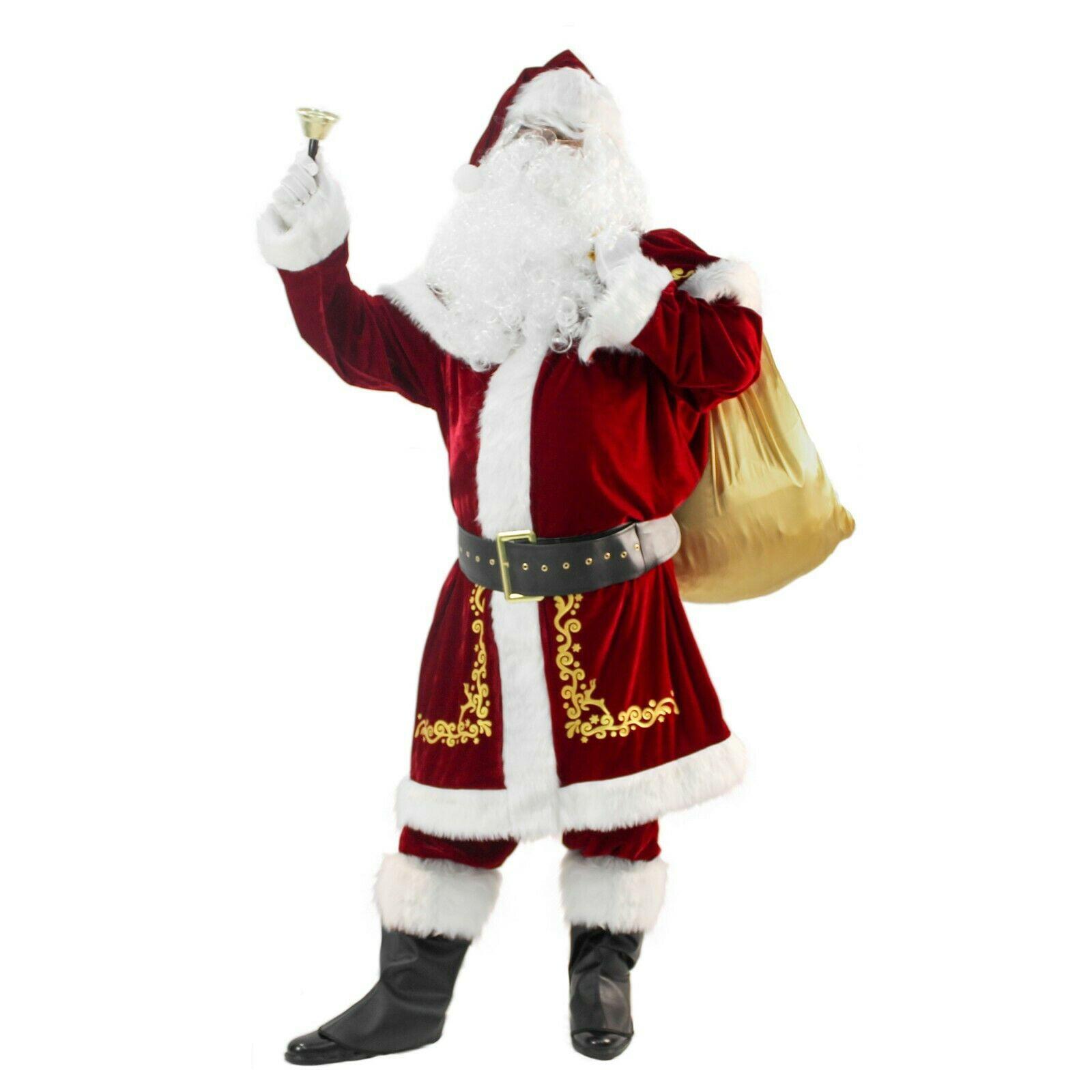 Christmas Santa Claus Costume with Beards Santa Suit Adult Men Deluxe 19 Pcs
