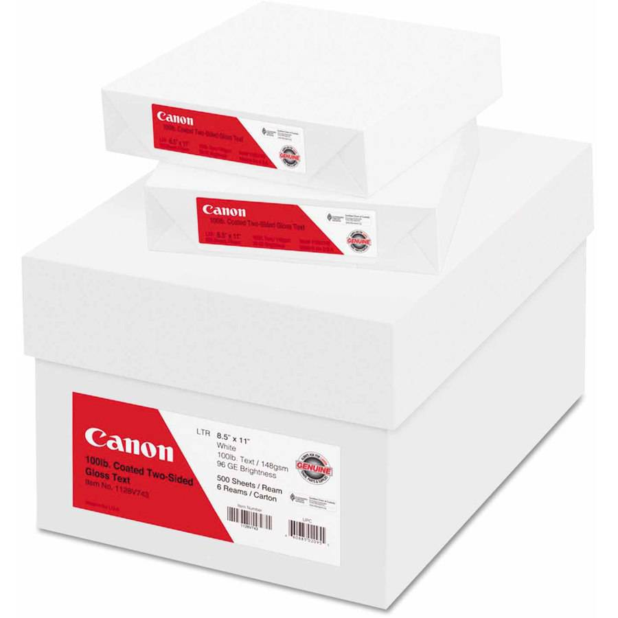 """Canon Coated Two-Sided Gloss Text Paper, 8-1/2"""" x 11"""", 100 lb, White, 500 Sheets/Carton"""
