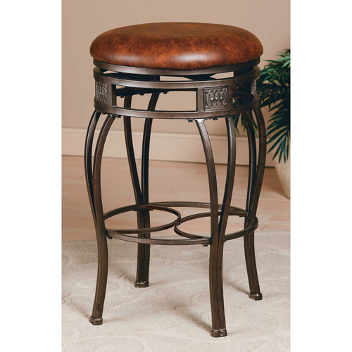"Hillsdale Furniture Montello 26"" Backless Swivel Counter Stool, Old Steel Finish"