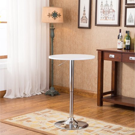 Roundhill Adjustable Height Wood and Chrome Metal Bar Table, Multiple Colors - Skinny Bar Table