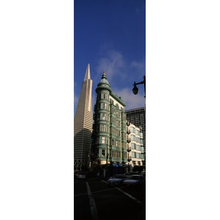 Columbus Tower and Transamerica Pyramid in a city San Francisco California USA Canvas Art - Panoramic Images (12 x