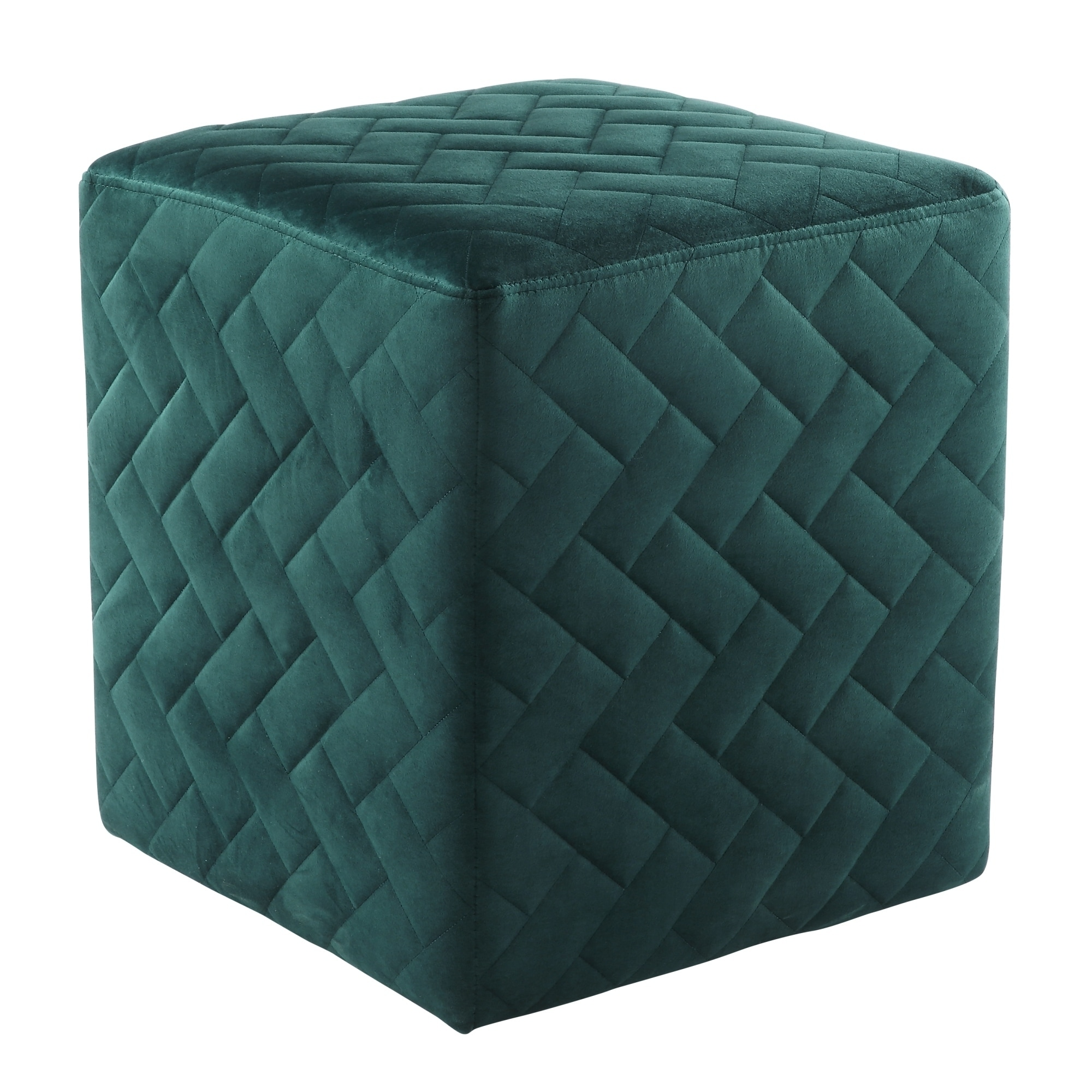 Inspired Home  David Velvet Ottoman Brick Quilted Cube