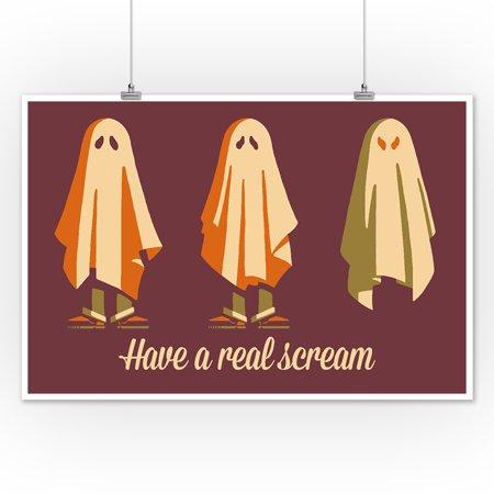 Have a Real Scream Ghost - Retro Halloween - Lantern Press Artwork (12x18 Art Print, Wall Decor Travel Poster) (Halloween Nail Art Designs Ghost)