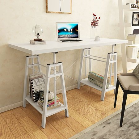 Tribesigns Computer Desk Height Adjustable Standing Desk  55   Large Office Desk With 2 Open Shelves  White