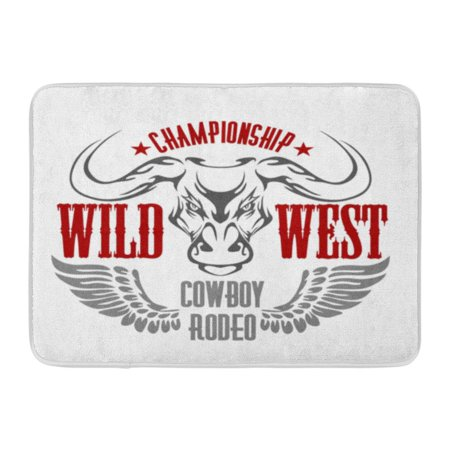 GODPOK Wings Red Western Wild West Championship Cowboy Rodeo Vintage Artwork for Wear Texas America Rug Doormat Bath Mat 23.6x15.7 inch