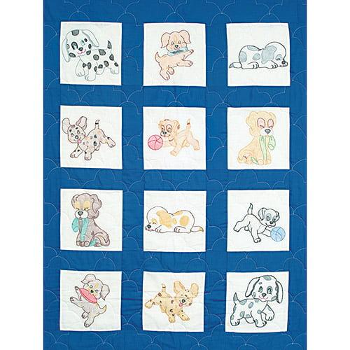"""Jack Dempsey Puppies Nursery Quilt Blocks, 12Pk, 9"""" x 9"""""""