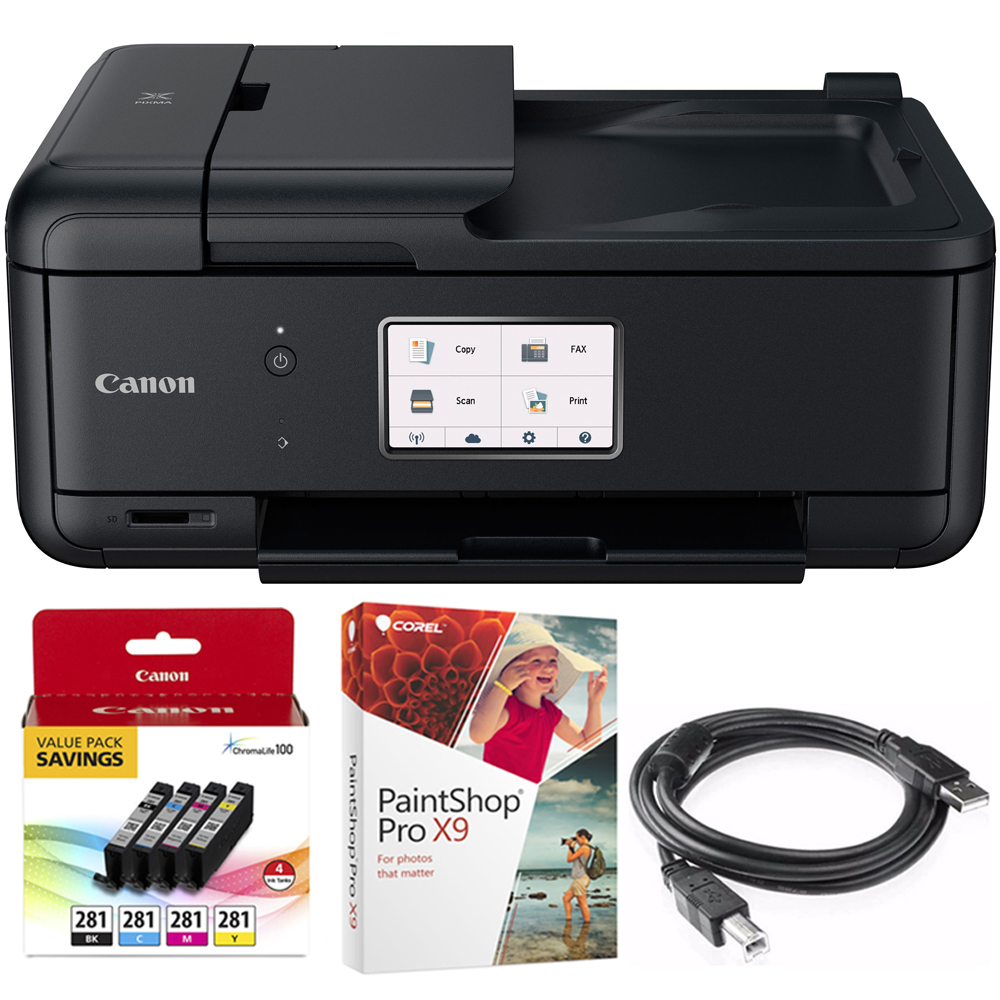 Canon PIXMA TR8520 Wireless Home Office All-in-One Printer with Scanner, Copier & Fax (2233C002) 4-Color Ink Tank Value Pack + Black Ink Tank, Corel Paint Shop Pro X9 & 6-foot USB Printer Cable