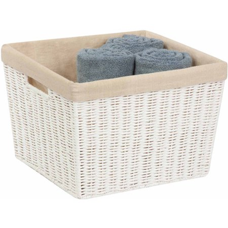 Honey Can Do Tall Parchment Cord Basket with Liner, White/Beige