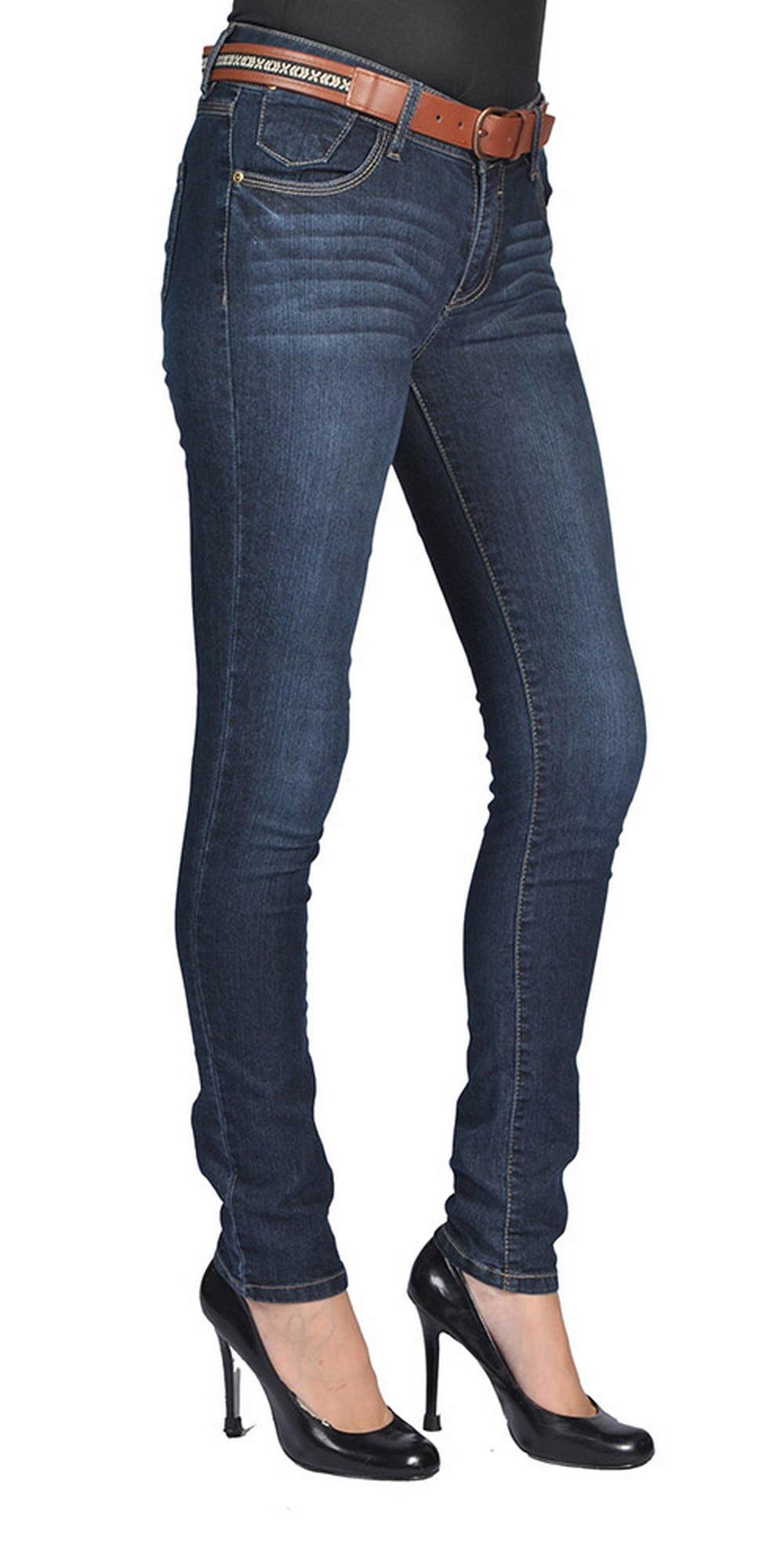 Stretch Denim Womens Belted Skinny High Fashion Jeans Dark Wash