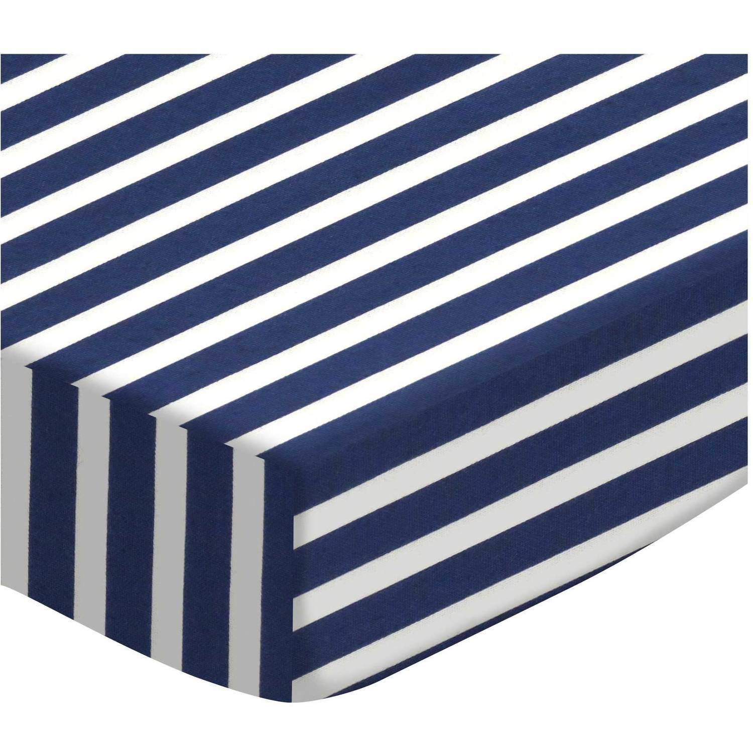 SheetWorld Fitted Bassinet Sheet - Primary Navy Stripe Woven (Choose Your Color)