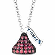 "Hershey's Kisses Women's CZ Sterling Silver Small Flat Back July (Black Rhodium) Pendant, 16"" with 2"" Extension"