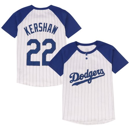 Pinstripe Mlb Jersey - Clayton Kershaw Los Angeles Dodgers Majestic Youth Game Day Pinstripe Name & Number Henley T-Shirt - White/Royal