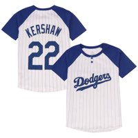 Product Image Clayton Kershaw Los Angeles Dodgers Majestic Youth Game Day  Pinstripe Name   Number Henley T- 2ca9b108f