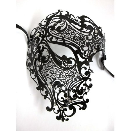 Black Phantom Laser Cut Metal Venetian Masquerade Mask Men Crystals Filigree - Man Masquerade Masks