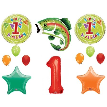 O'Fishally The Big One 1st Birthday Party Balloons Decorations Trout Fish Supplies (Fish Party Supplies)