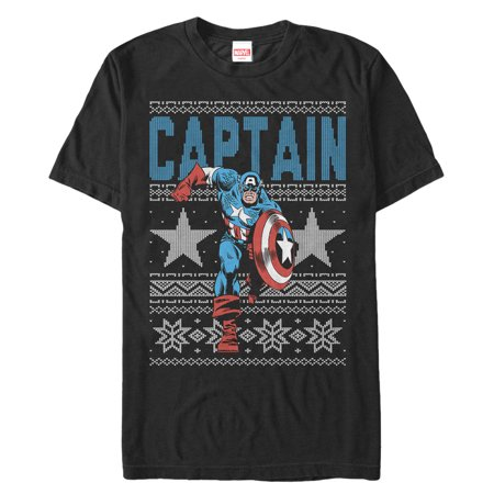 Marvel Captain America Star Ugly Christmas Sweater Mens Graphic T Shirt ()