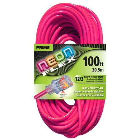 Prime NS513835 100' 12/3 SJTW Neon Pink Neon Flex Extension Cord (Non Extension)