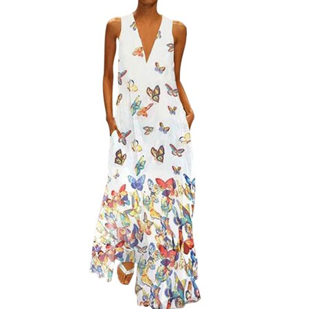 Plus Size Women Bohemia Dress Sleeveless Butterfly Print Summer Sexy V Neck Long Maxi Dress Evening Party Cocktail Butterfly Print V-neck Dress